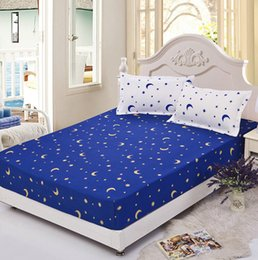 blue moon and stars twin full queen fitted sheet bed protection mattress protector cover mattress coverlid bedspread bed sheets in bulk