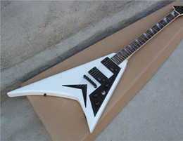 Flying V Electric Guitar with White Body and Black Pickguard and Hardware and Can be Changed