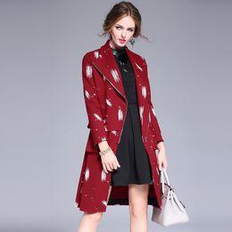 Wholesale European style big fashion winter lapel coat coat Europe and the United States graffiti printed women Slim coat Trench Coats Wool Blends
