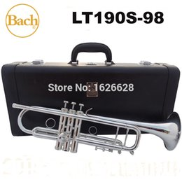 Wholesale New Bach Brass Trumpet LT190S Bb Silver Plated Trompeta Profissional Instrumentos Case Mouthpiece