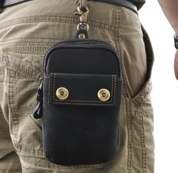 Crazy Horse Leather Man Fanny Bag Waist Phone Bag Small Function Bag For Hiking And Working Best Quality Fashion Vintage Design