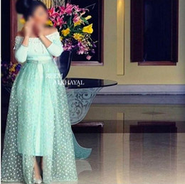 2016 Mint Green Evening Dresses Off Shoulder Long Sleeve A Line Lace Applique Dresses Evening Wear