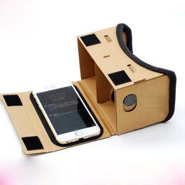 Wholesale DIY Google Cardboard Mobile Phone Virtual Reality D Glasses Unofficial Cardboard Google Cardboard VR Toolkit D Glasses
