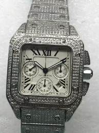 Men Watches Luxury Brand chrono Sapphire Glass Full Stainless Steel diamonds large size 46mm Automatic Watch Wristwatch AAA Quality