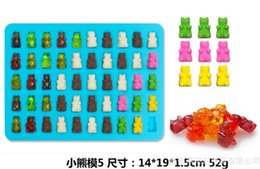 Wholesale 50 Cavity Silicone Gummy Bear Chocolate Mold Candy Maker Ice Tray Jelly Moulds with free dropper