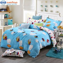 Wholesale Svetanya airplane print Bedlinen Fleece winter blanket queen king size soft bedsheet pillowcase Duvet cover bed set