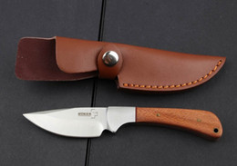 Cuchillos de perlas manejado en Línea-BOKER Plus Cuchillo de hoja fija de acero de perlas 5Cr13Mov 57HRC Mango de madera Tactical acampando caza de rescate derecho cuchillo de bolsillo con funda de cuero