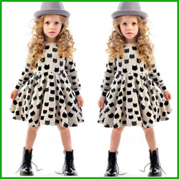 tyfactory baby girl autumn dress children black cat long sleeve clothes kids casual cotton dot clothing autumn princess girls dresses