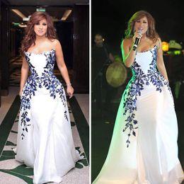 Najwa Karam A-Line White Celebrity Dresses 2016 Arabic Dubai Elegant Evening Gowns with Simple Embroidery Floor-Length Women Prom Dress