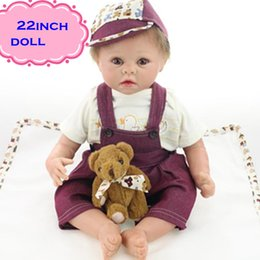 22inch Hot Sale NPK Silicone Reborn Baby Dolls Brinquedos Wearing Deep Purple Braces Soft Lovely Reborn Bebe Munecas For Girl