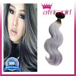 cheap Malaysian Brazilian Peruvian Virgin Hair Body Wave Silver Ombre Hair Extensions ombre grey human hair bundles 4 bundle deals free ship