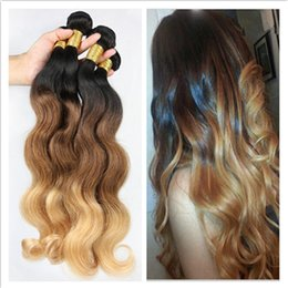 Brazilian Blonde Ombre Hair Weaves #1B 4 27 Honey Blonde Three Tone Human Hair Brazilian Body Wave Ombre Virgin Hair Bundles 3Pcs Lot