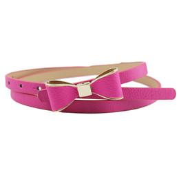 Wholesale Cute Skinny Belts - Brand new 2016 waist belt Women's Sweet Cute Girl Bowknot PU leather Belt Skinny Dress Waistband free shipping