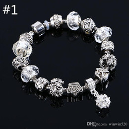 beaded charms jewelry bracelets infinity beads bracelet 6 Colors Fashion Silver Daisies Murano Glass&Crystal European Charm Beads Fits