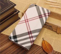 Wholesale wallet purse Fashion New Business Men Wallets Long Style Zipper Plaid Grid Geometry Stripes Upscale Single Handle Card Holder Wallet