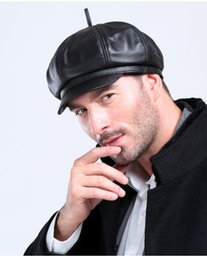 Wholesale Man s fashion full authentic sheep leather round cap cute hat cap in black