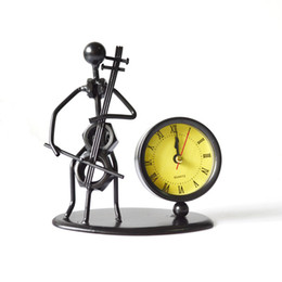 Steel Man Playing Cello Casting Model With Clock - Cello Model Clock