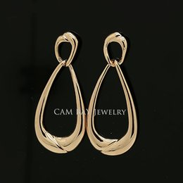 Wholesale European And The American Simple Teardrop Frame Drop Earrings Gold Tone Or Platinum Plated For Personality liberal Women