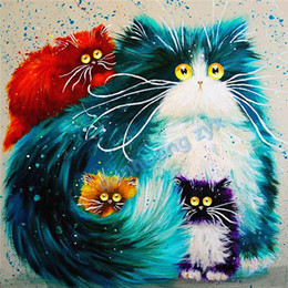 Wholesale Cross Stitch Diy Set - 2016 diy diamond painting cross stitch animal four cats crystal full round drill set unfinished diamond mosaic Room free shipping