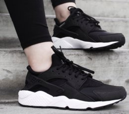 AIR MENS HUARACHE RUNNING SHOES Black White Blue trainers sneakers online