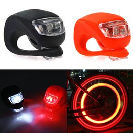 Wholesale Silicone Bike Bicycle Cycling Head Front Rear Wheel LED Flash Light Lamp black red