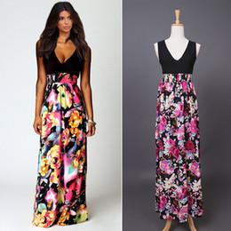 Fashion Floral Maxi Boho Dress V Neck Sleeveless Patchwork Long Beach Party Dress Summer Flower Print Casual Dress PDF0405