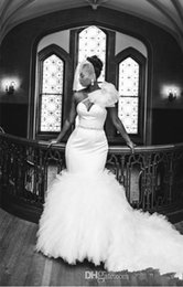 African Vintage Mermaid Wedding Dresses 2016 One Shoulder Tulle Tiered Ruffles Belt Plus Size Court Train Custom Wedding Dress Bridal Gowns