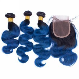 9A Indian Blue Hair Weave 3 Bundles With Lace Closure 4Pcs Lot Dark Root Ombre Hair Extensions With Closure 1B Blue Body Wave