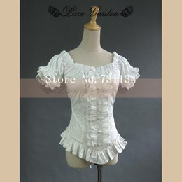 Vintage royal ruffle puff sleeve 100% cotton white lolita short blouse shirt