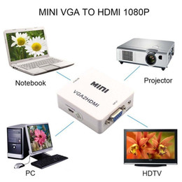 Wholesale 2016 Cute Mini HD P Audio VGA To HDMI HD HDTV Video Converter Box Adapter With HDMI Cable For PC Laptop DVD VGA to HDMI