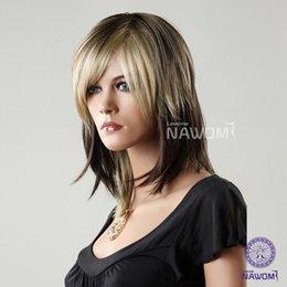W3710 European 19in Medium Length Straight Hair Wigs For Women 100% Kanekalon Synthetic Wig Adjustable Cap
