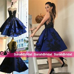 Royal Blue Cocktail Dresses Short Sheer Jewel Neckline Appliqued Beaded Formal Prom Party Gowns Knee Length Evening Wear for Women Sale