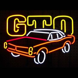 Wholesale GM AMERICAN AUTO PONTIAC GTO NEON SIGN Real Glass Neon Light Sign Home Beer Bar Pub Recreation Room Game Room Windows Garage Wall Sign