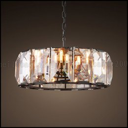 Wholesale Max w Minimalist American Iron Antique Crystal Lighting Classic Retro Living Room Lamps Bedroom Pendant Lights Restaurant Chandelier LLWA1