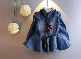 Wholesale Girls denim skirt Autumn new Korean lapel long sleeved denim dress bow denim jacket