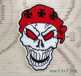 Skull Red Hood Rock Punk motorcycle biker jacket Iron on Embroidered patch Gift shirt bag trousers coat Vest Individuality