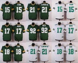 Wholesale football jerseys Bart Starr Davante Adams Randall Cobb Ha Ha ClintonDix Reggie White elite Stitched jerseys White blue