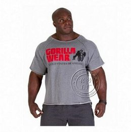 Wholesale New Men s Gym Shirts Golds NPC Powerhouse Gorilla Wear Fitness Bodybuilding Workout Clothes Terry Cotton High Elastic T Shirt