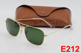 Wholesale 1pcs Fashion Rectangle Sunglasses For Mens Womens Eyewear Caravan Sun Glasses Gold Metal Green mm Glass Lenses With Better Brown Cases