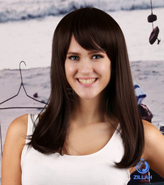 Wholesale new Long straight Brown wigs oblique bangs classic Cheap Womens Fashion Style Wig Reality Show Online Buy wigs