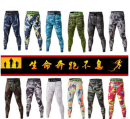 Wholesale New Men s Sports Apparel Skin Tights Compression Base Layer Pants Camouflage Gym Fitness trousers Running Leggings Cycling Fitness Pants