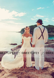 2019 Sexy off the shoulder Beach Wedding Dresses Lace bodice with slit chiffon skirt Customized Cheap Summer Bridal Gowns with Court Train