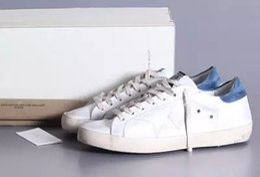 Wholesale 2016 italia golden goose superstar scarpe casual cuoio genuino uomo donna low cut respirare g24u590 p9 ggdb sstar bianco