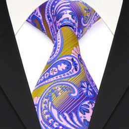 Handmade F16 Yellow Purple Navy Blue Multicolor Paisley Men's Ties Neckties 100% Silk Free Shipping Wholesale