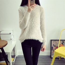Wholesale Europe and the United States summer fall pure color sets round collar long sleeved loose type single piece mohair sweaters