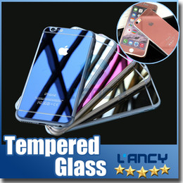 Wholesale Color plating tempered glass For Iphone s plus mirror colorful front and back screen protector cellphone colorful film with retail box