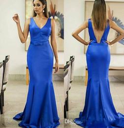 Fuchsia Mermaid Long Bridesmaid Dresses Backless V neck Satin Sash Floor length Elegant Cheap Formal Party gowns V neck prom dress