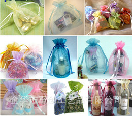 Free shipping Jewelry Bags MIXED Organza Jewelry Wedding Party Xmas Gift Bags Purple Blue Pink Yellow Black With Drawstring 9*12cm