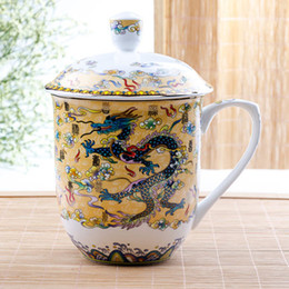 Creative ceramic Cup mug bone China coffee mugs with lid dragon