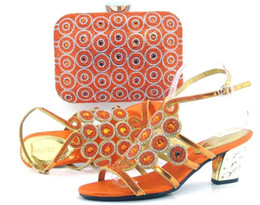 Wholesale Summer Ribbon Sandals - VIVILACE TH16-17 orange Beautiful pu leather shoes matching with handbag sets for party lady African sandal and bag